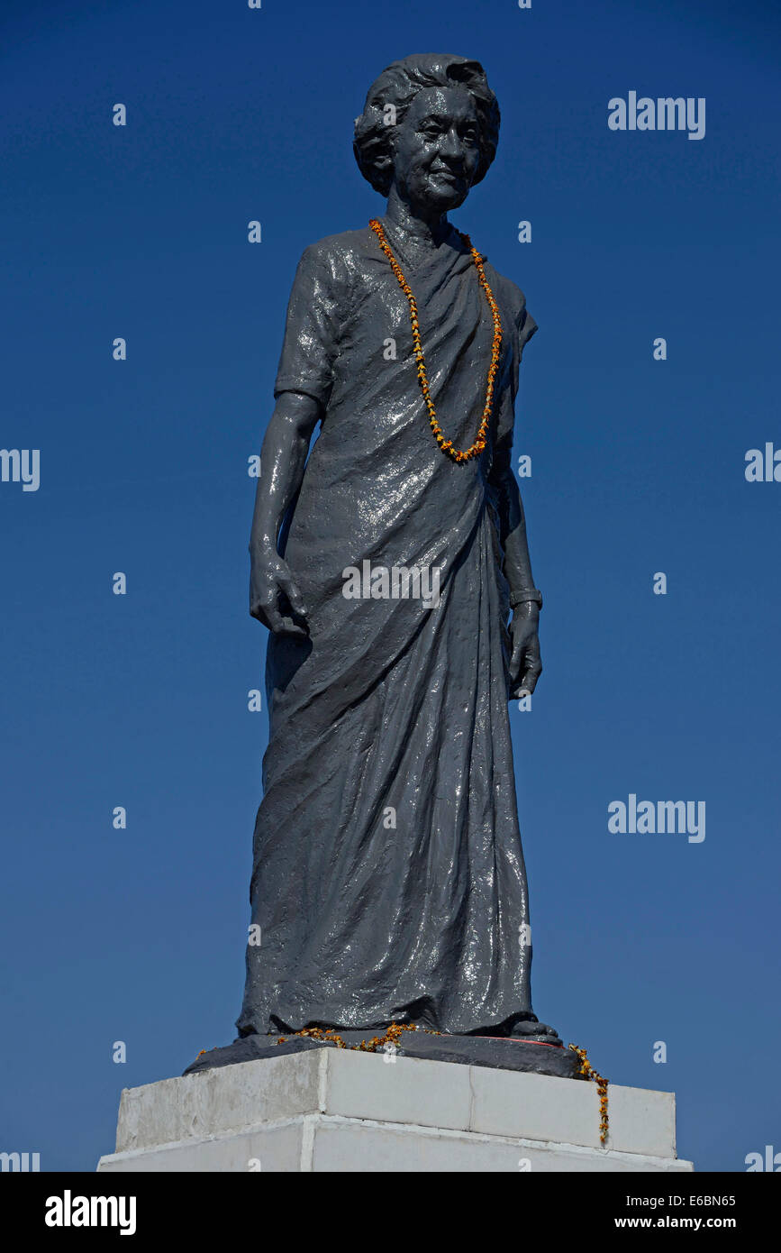 The statue of  Indira Gandi on the Ridge in  Shimal, Himachal Pradesh,India - Stock Image