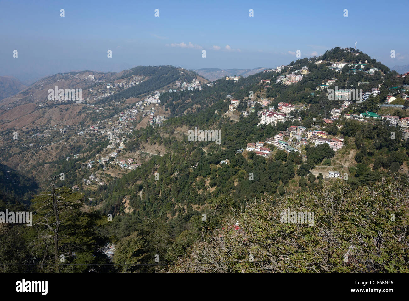 The suburbs of Shimla on the Himalayan foothills from the Ridge in Shimla ,Himachal Pradesh,India - Stock Image