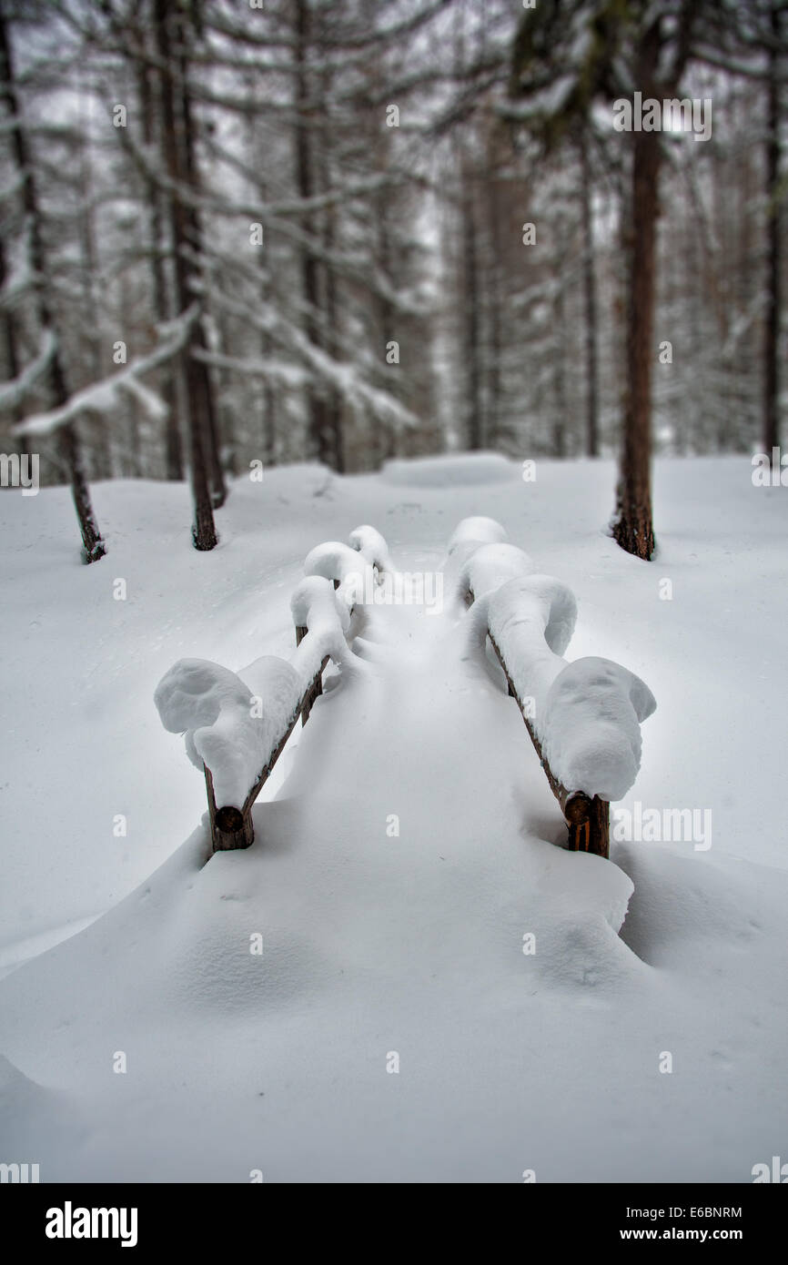 Snow covered bridge to nowhere.  Small bridge in the forest after heavy snow fall in the Swiss Alps - Stock Image