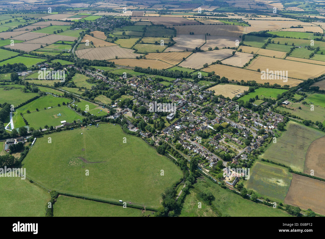 An aerial view of the Oxfordshire village of Cropredy and surrounding countryside. - Stock Image
