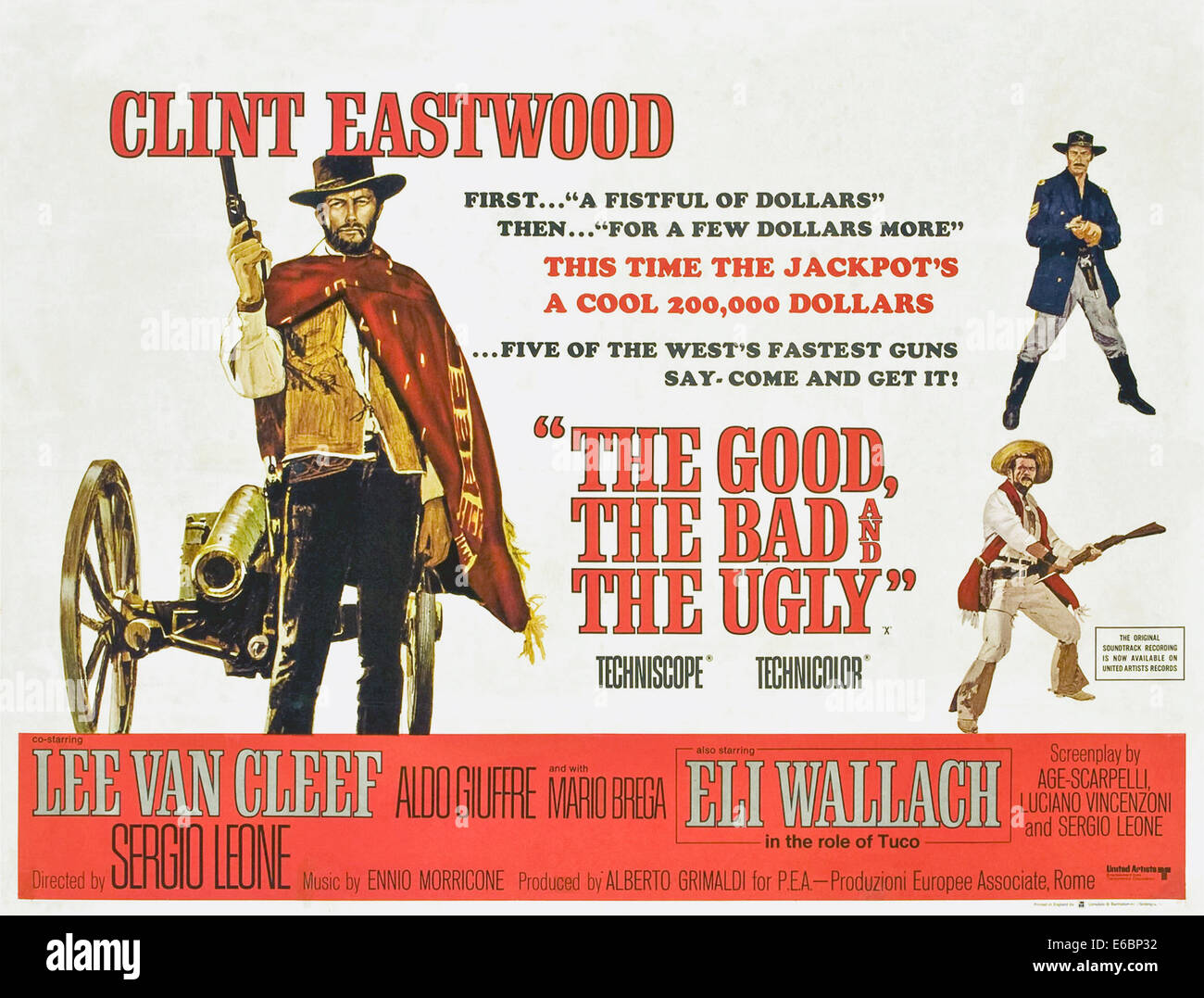 Theatrical Poster for 'The Good, the Bad and the Ugly ' film directed by Sergio Leone. See description for - Stock Image
