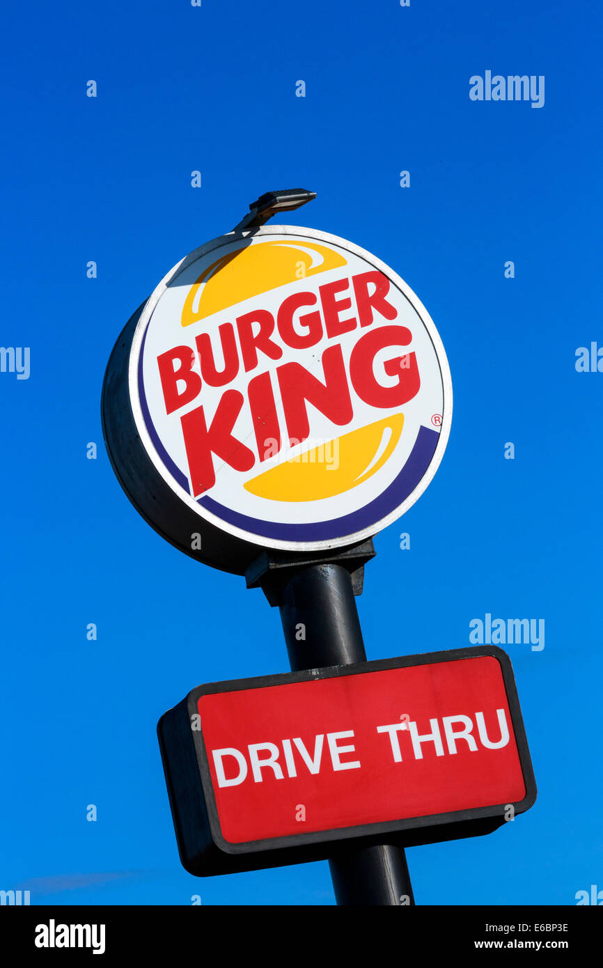 Standard sign for a Burger King fast food outlet and drive thru restaurant Stock Photo