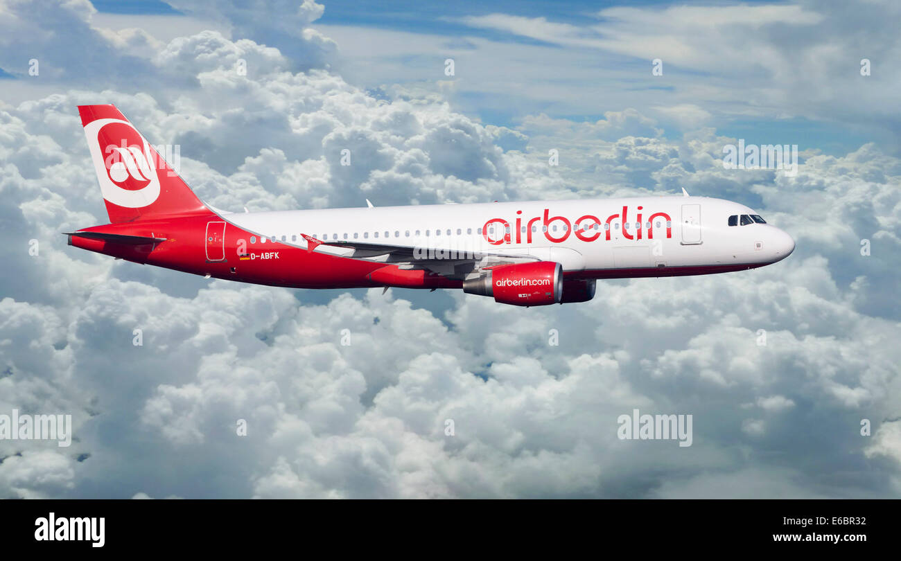 Air Berlin Airbus A320-214 in flight - Stock Image