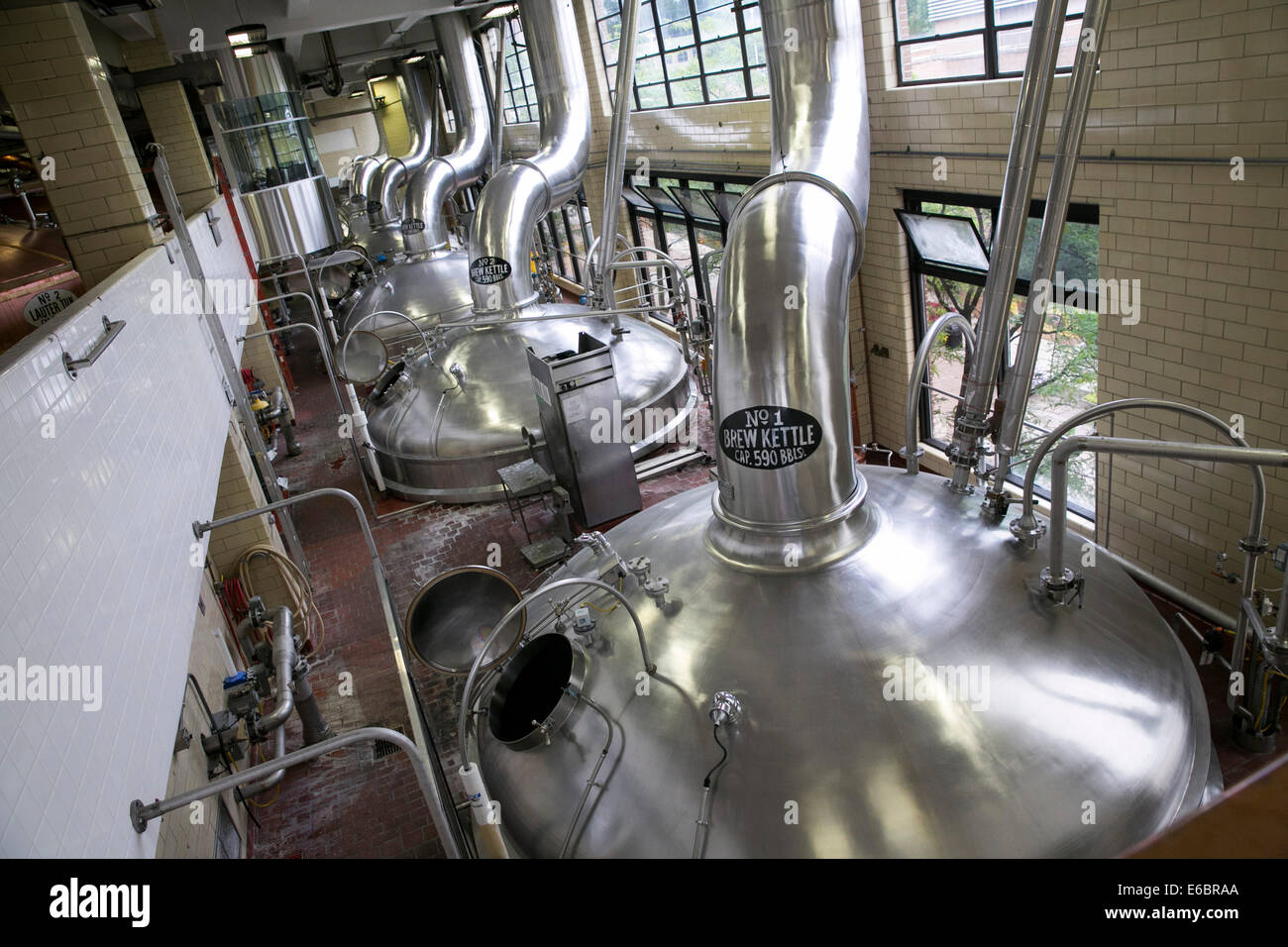 The MillerCoors brewery in Milwaukee, Wisconsin. Brewhouse. - Stock Image