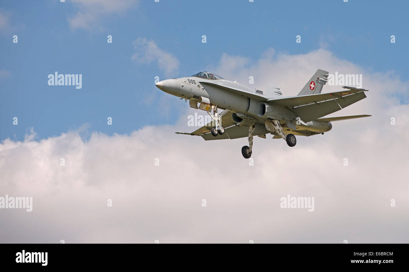 Swiss Air Force F/A-18C Hornet at the Royal International Air Tattoo 2014 - Stock Image