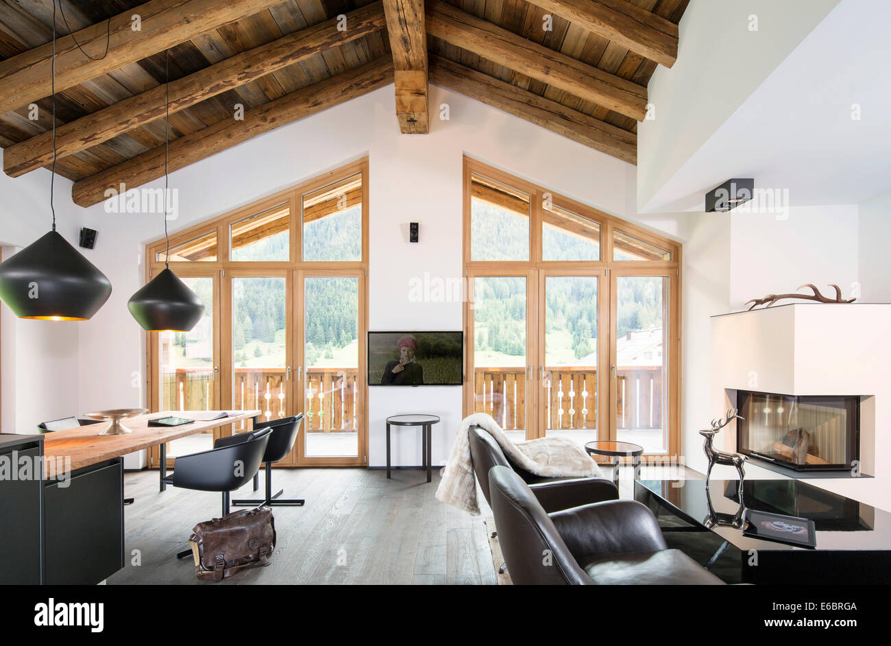Interior view of a chalet, Innsbruck, North Tyrol, Austria - Stock Image