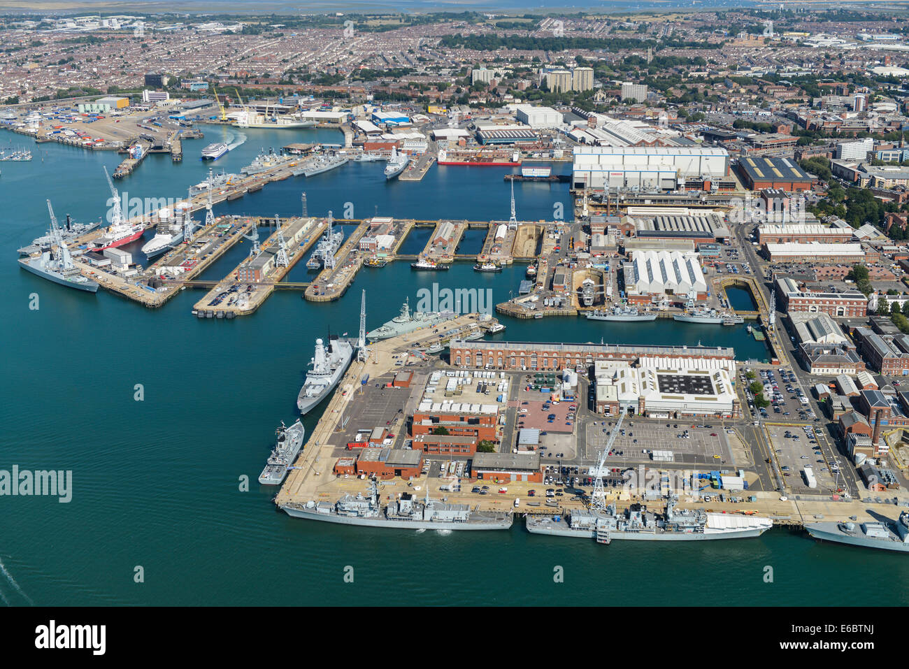 An aerial view of the Naval Dockyard in Portsmouth, Hampshire - Stock Image