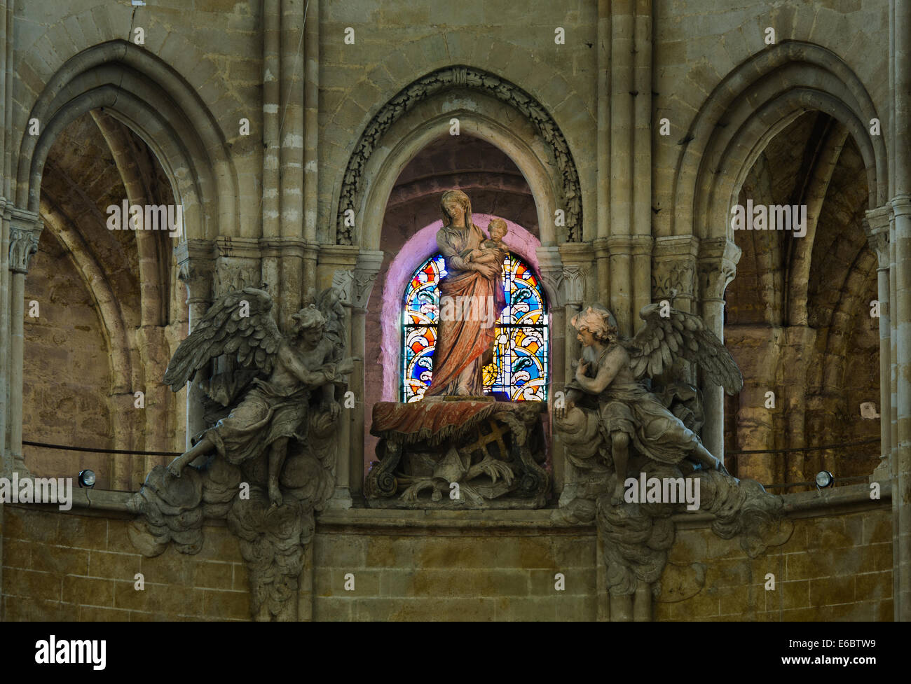 FRANCE SENLIS 23 AUG: interiors of cathedral in Senlis town of France - Stock Image