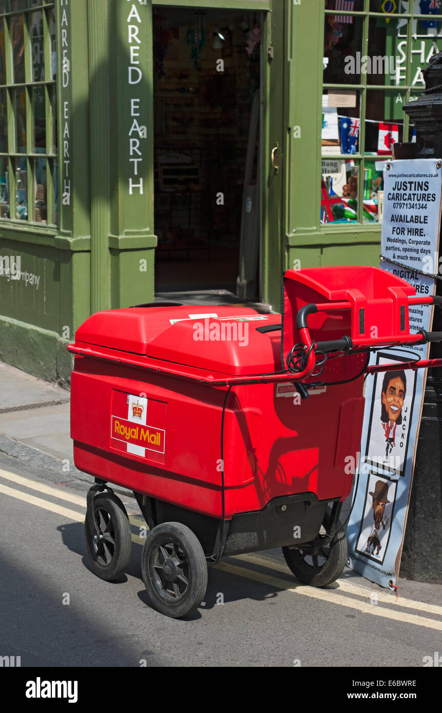 Royal Mail post delivery trolley York North Yorkshire England UK United Kingdom GB Great Britain Stock Photo