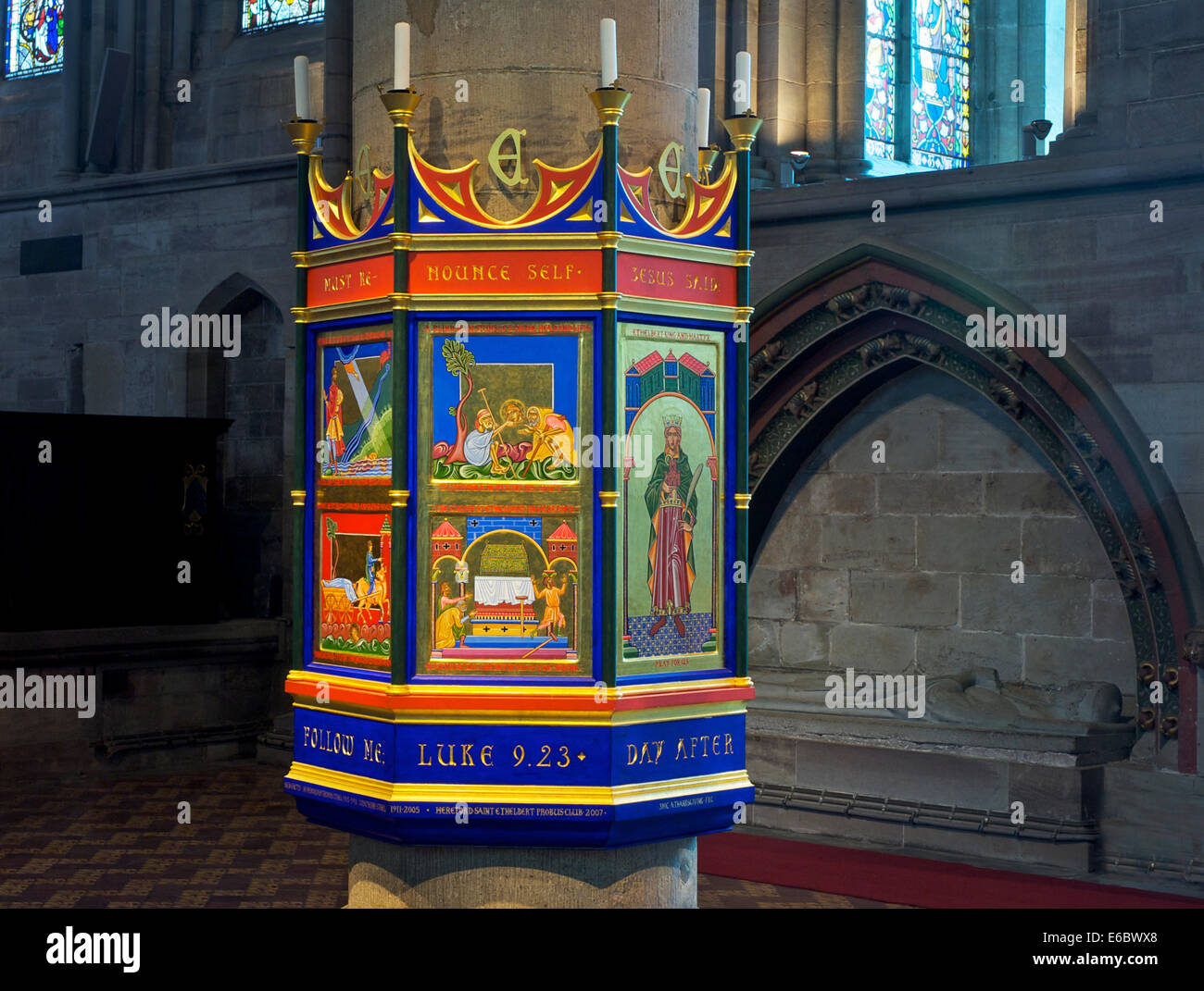 Pillar in Hereford Cathedral, Herefordshire, England UK - Stock Image