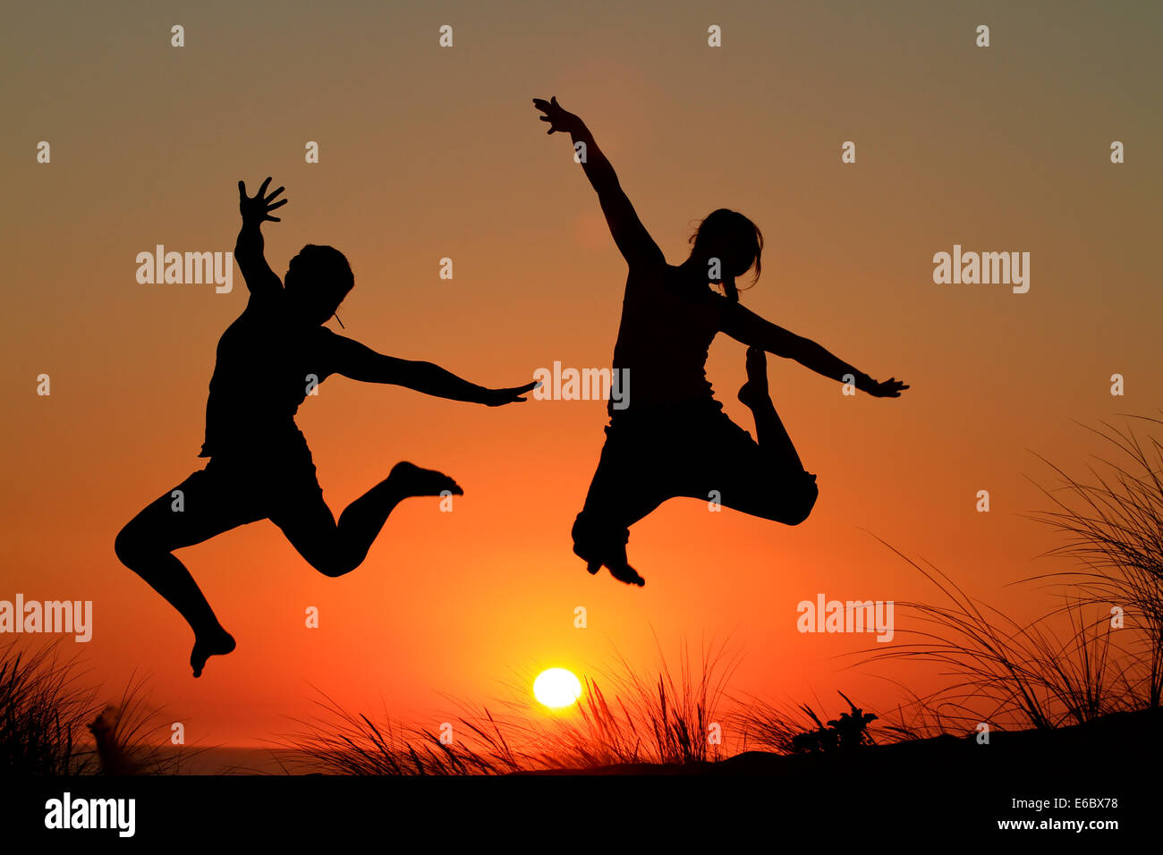 jump,silhouette,joy,jumping - Stock Image