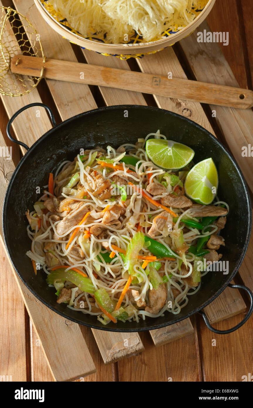 Pancit Bihon. Filipino noodle dish - Stock Image