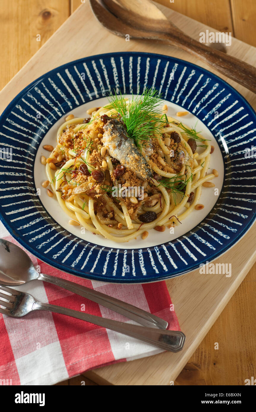 Pasta con le sarde. Bucatini with sardines and fennel. - Stock Image