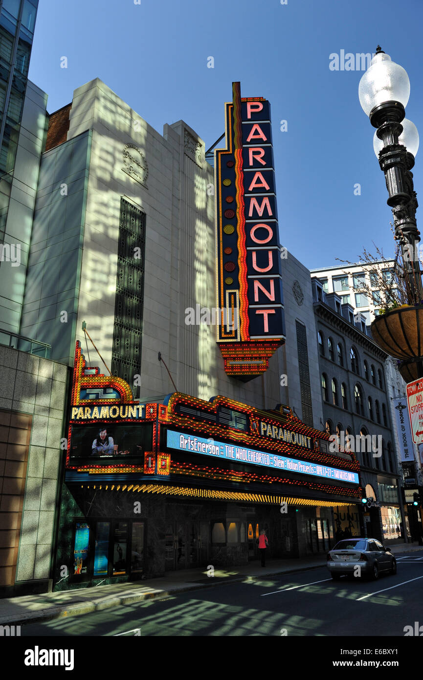 Neon sign and entrance foyer of redeveloped Paramount Theatre, Boston, Massachusetts - Stock Image