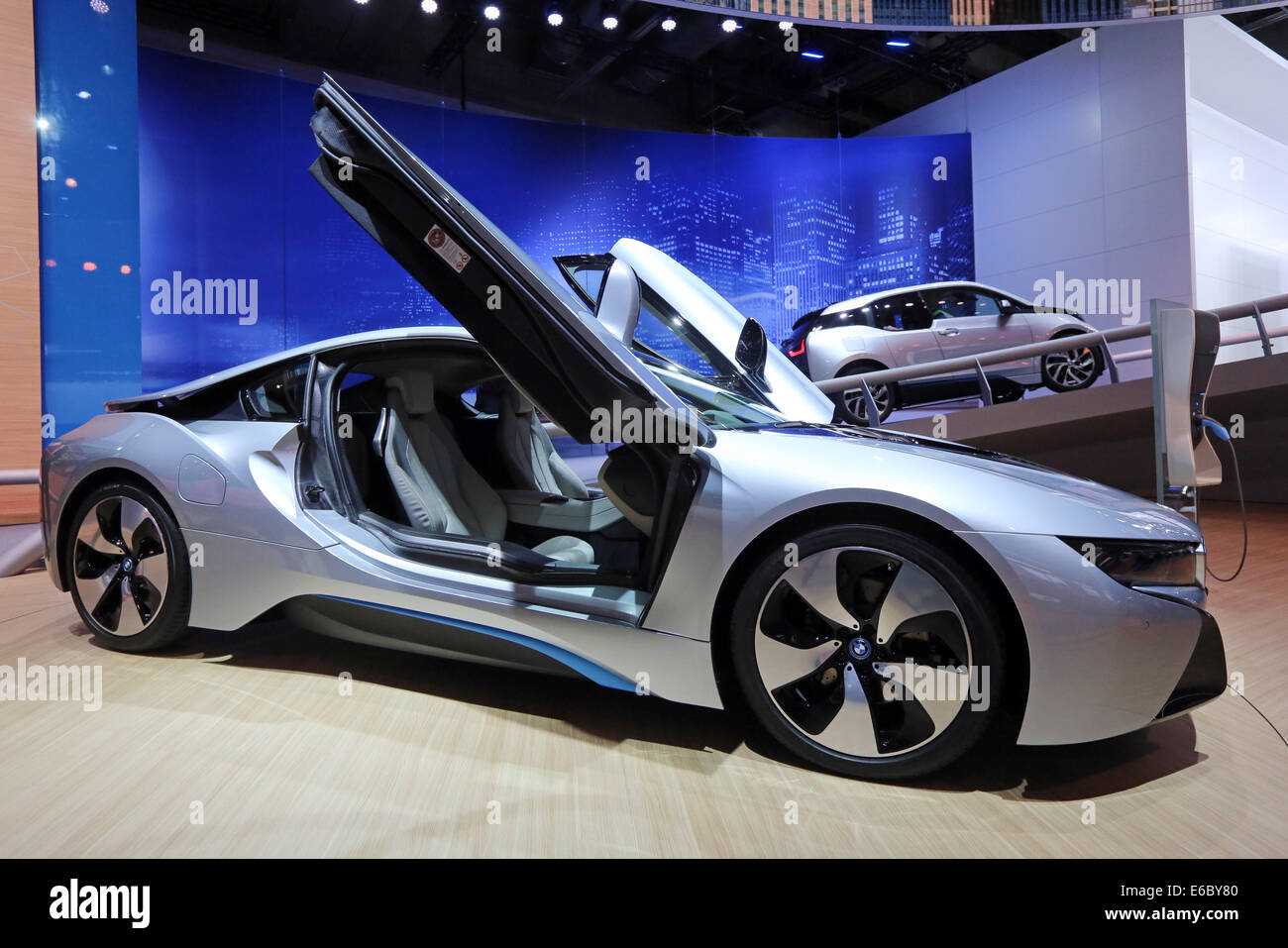Hybrid Car Bmw I8 Front And Electric Car Bmw I3 At The 65th Stock