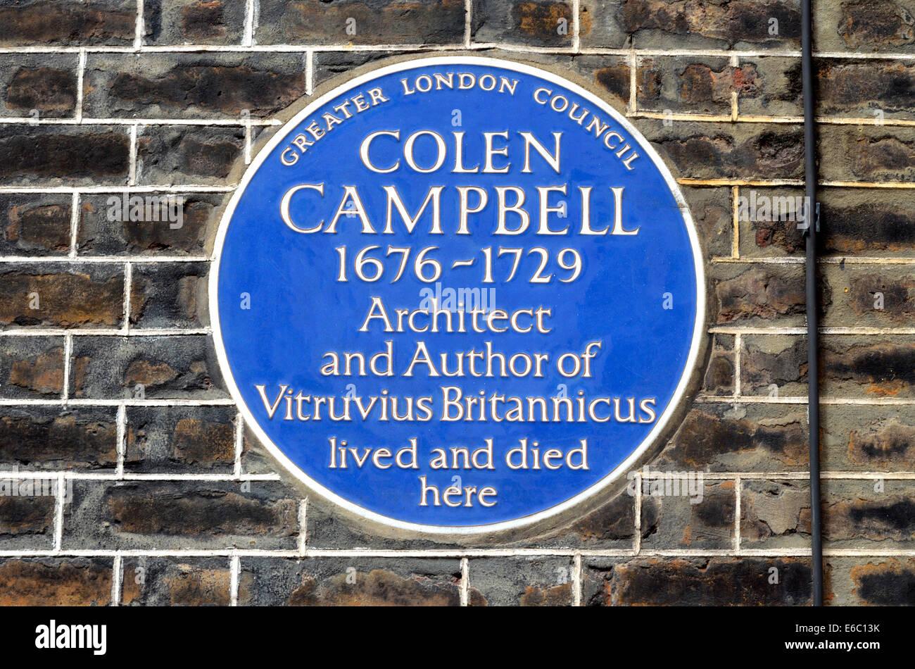 London, England, UK. Commemorative Blue Plaque: Colen Campbell (1676-1729: architect and author of Vitruvius Britannicus) - Stock Image