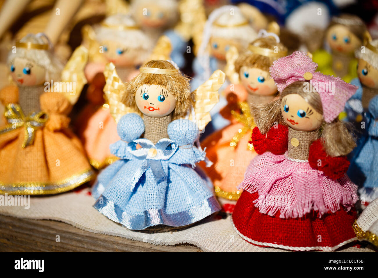 Colorful Belarusian Straw Dolls At The Market. Straw Dolls Are The Most Popular Souvenirs From Belarus And Symbol - Stock Image
