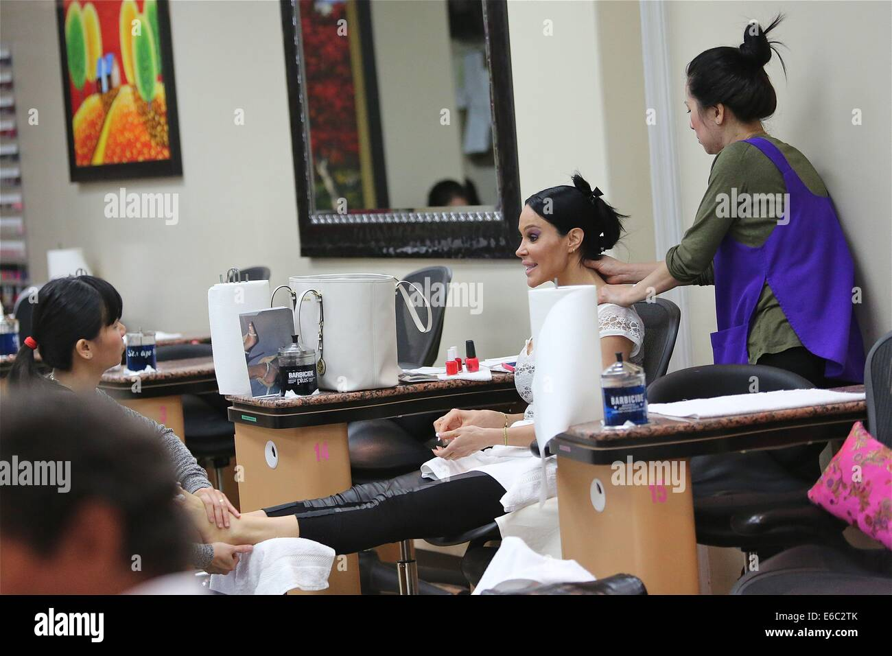 Tabitha Taylor gets a pedicure at a Beverly Hills nail salon but ...