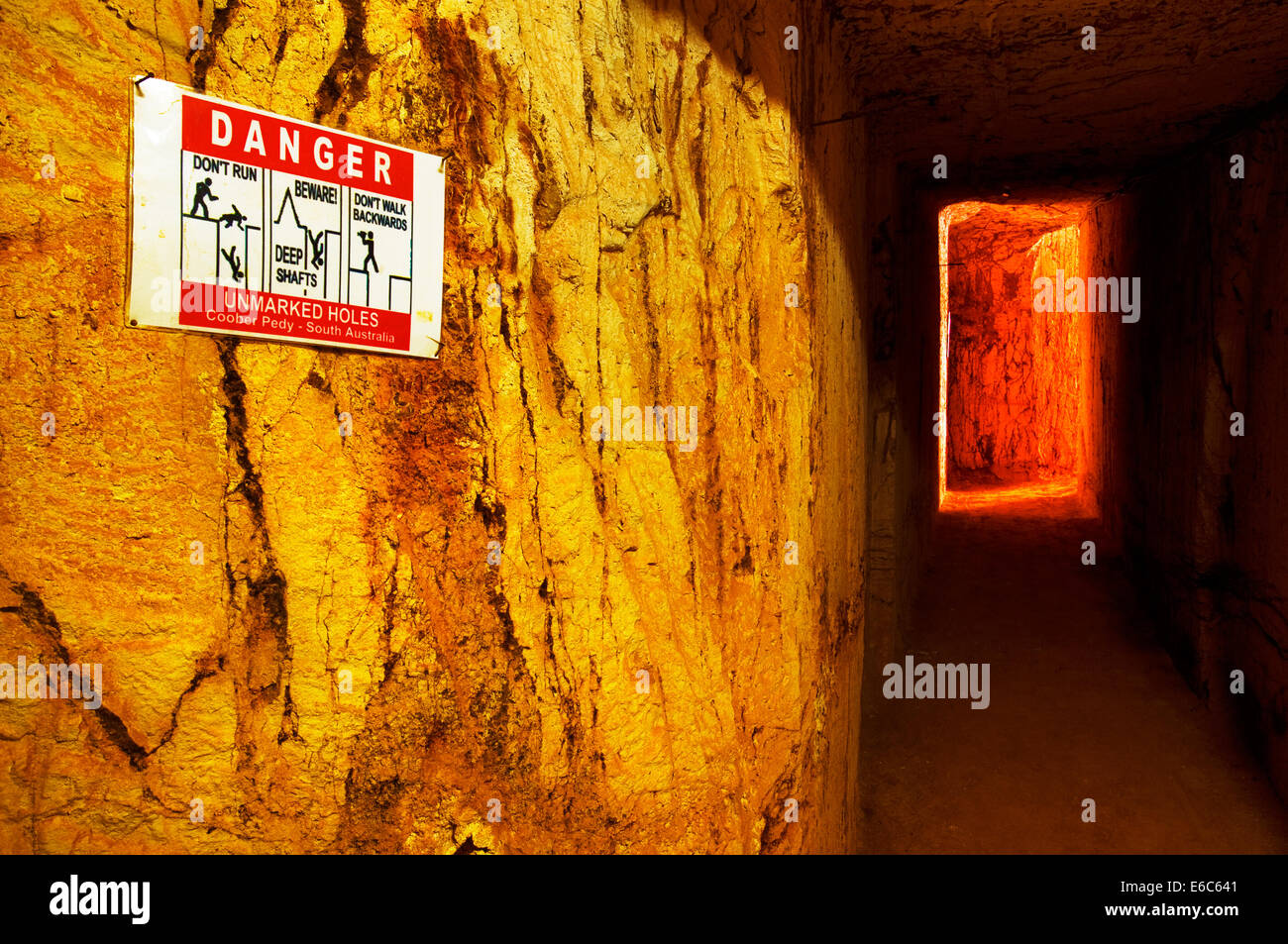 Mining shaft in a Coober Pedy Opal Mine. - Stock Image