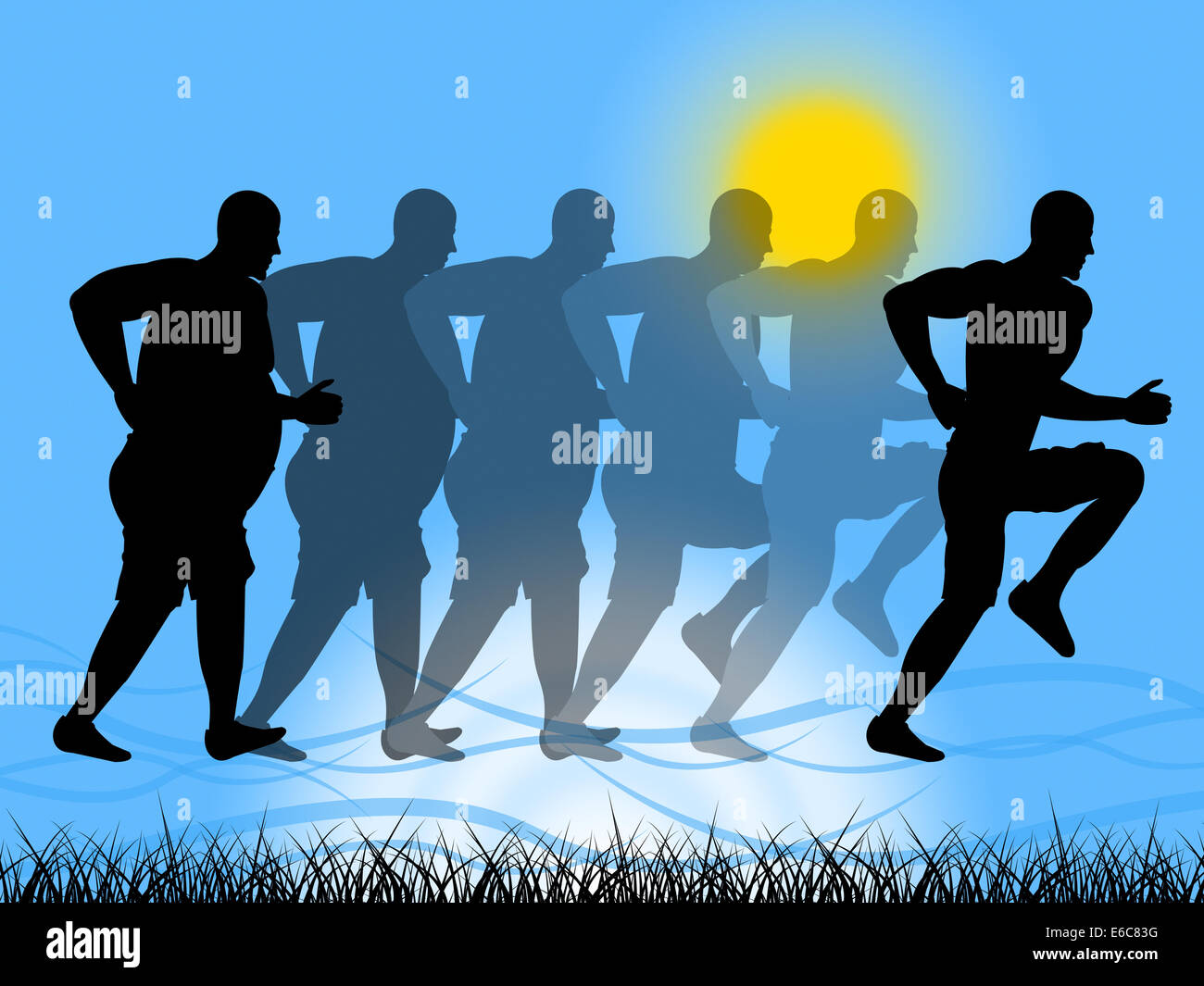 Weight Loss Representing Get Fit And Jog - Stock Image