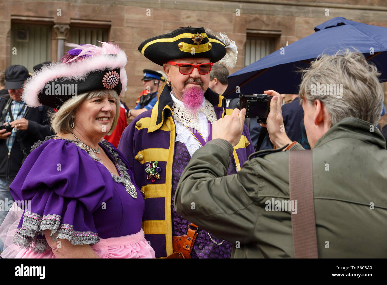 Chester, UK. 20th August, 2014. Devlin Hobson and Escort being photographed at The World Town Crier Tournament being - Stock Image