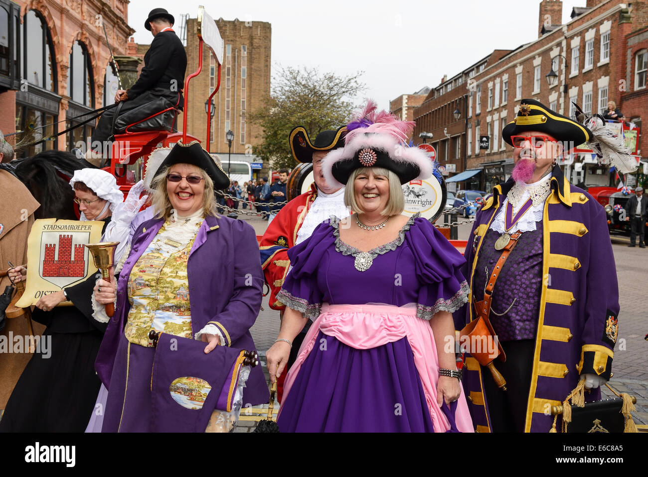 Chester, UK. 20th August, 2014. Devlin Hobson and Escort at The World Town Crier Tournament being held outside the - Stock Image
