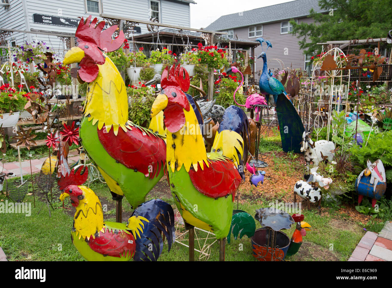 Amana Iowa Garden Decorations On Sale At A Shop In The Formerly Stock Photo Alamy