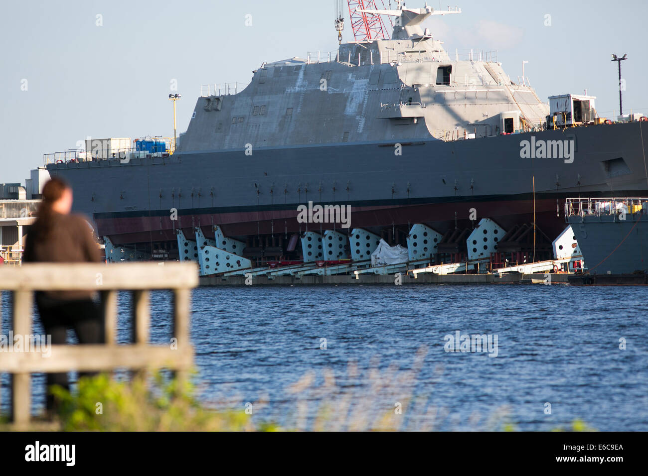 United States Navy Littoral Combat Ships under construction at Marinette Marine Corporation in Marinette, Wisconsin. - Stock Image