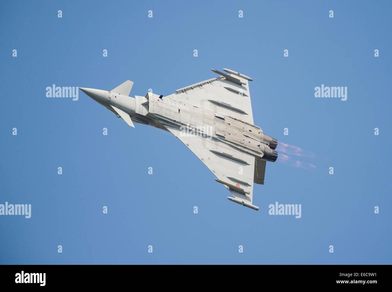 Italian Eurofighter Typhoon aircraft display at RIAT 2014 Stock Photo