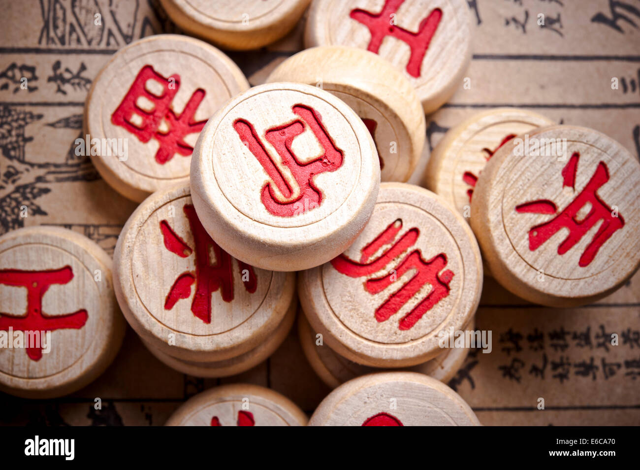 pieces for chinese chess or xiangqi - Stock Image
