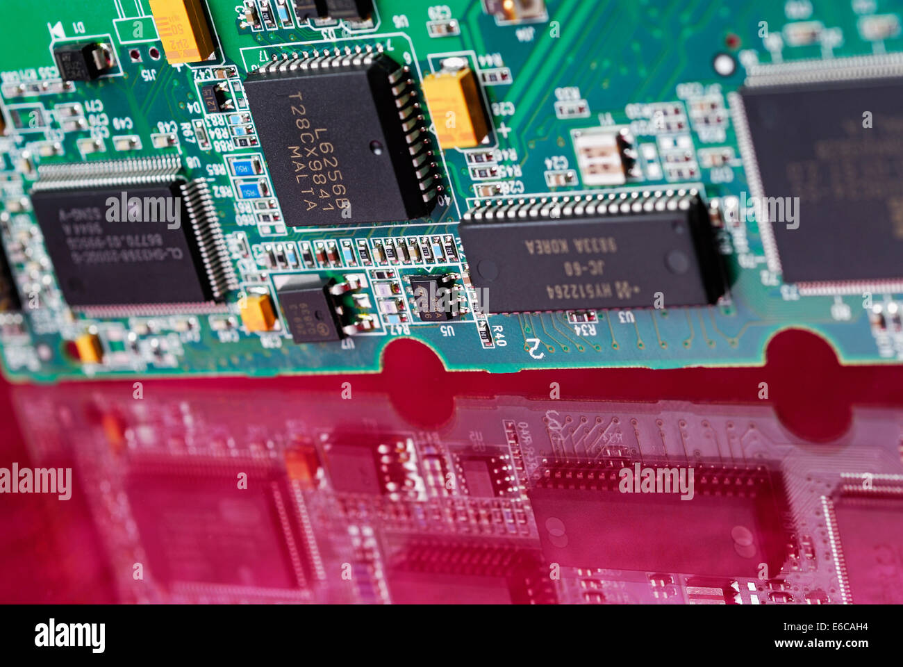 Computer chip circuit board - Stock Image