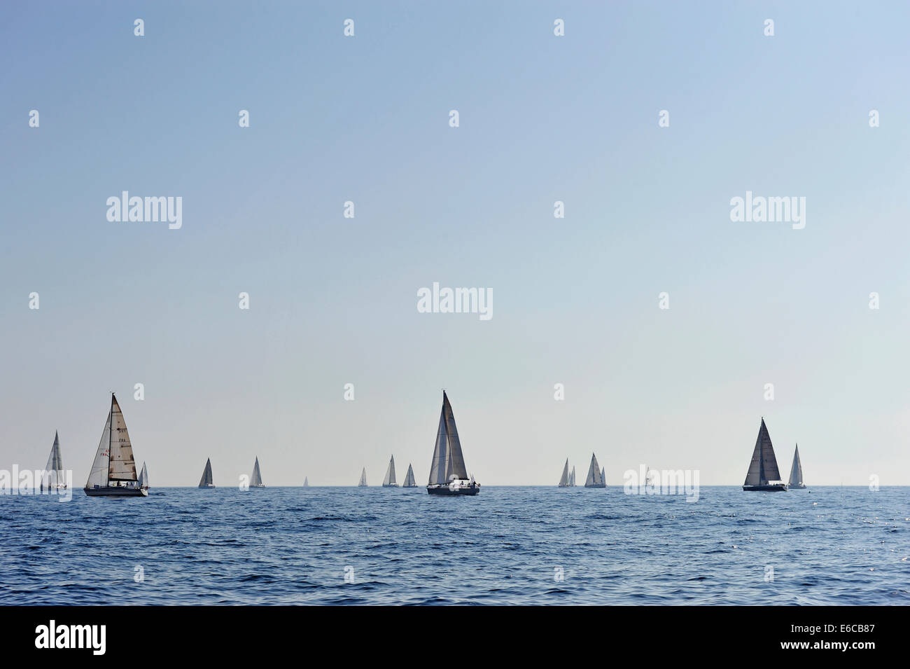 Sailboats during a regatta in the Mediterranean Sea off the coast of Marseille, South of France, Europe - Stock Image