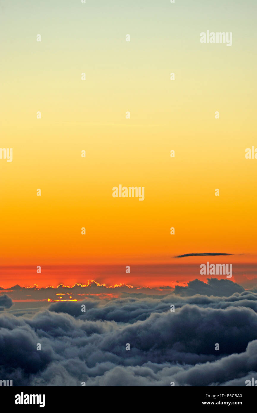 Above the cloud, cloudscape at sunset, Maui Island, Hawaii Islands, USA - Stock Image