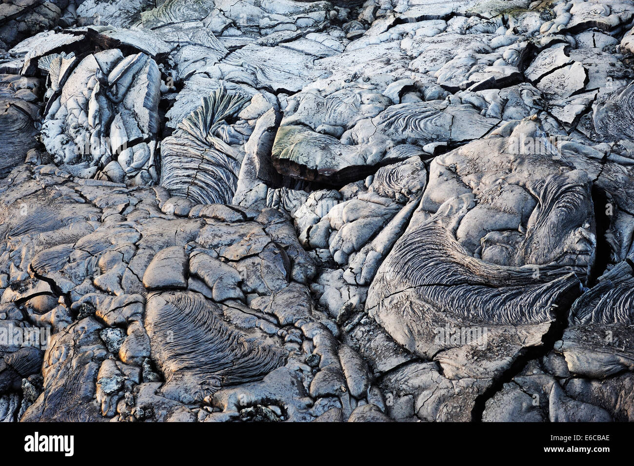 Cooled pahoehoe lava flow, Kilauea Volcano, Big Island, Hawaii Islands, USA - Stock Image