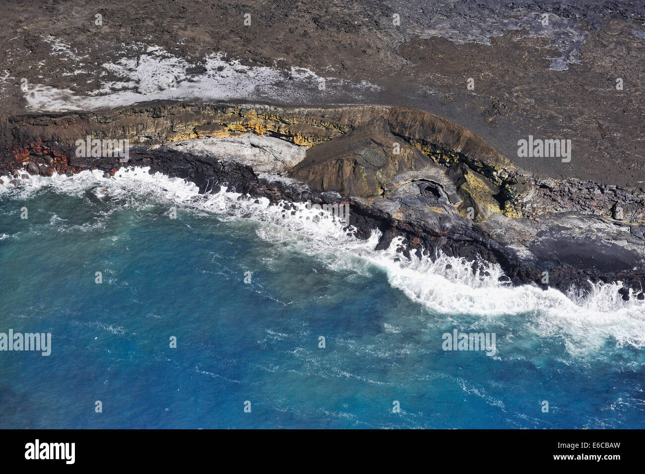 Cooled lava fields by the ocean (aerial view), Kilauea Volcano, Big Island, Hawaii Islands, USA - Stock Image