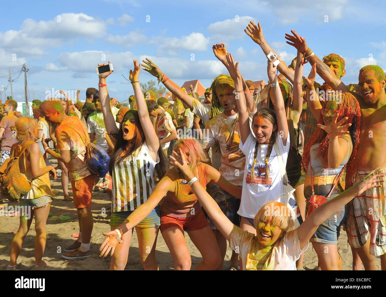 Krasnodar territory russia 20th aug 2014 young people taking krasnodar territory russia 20th aug 2014 young people taking part in the holi colorfest festival of colours at the kubana 2014 international music thecheapjerseys Images