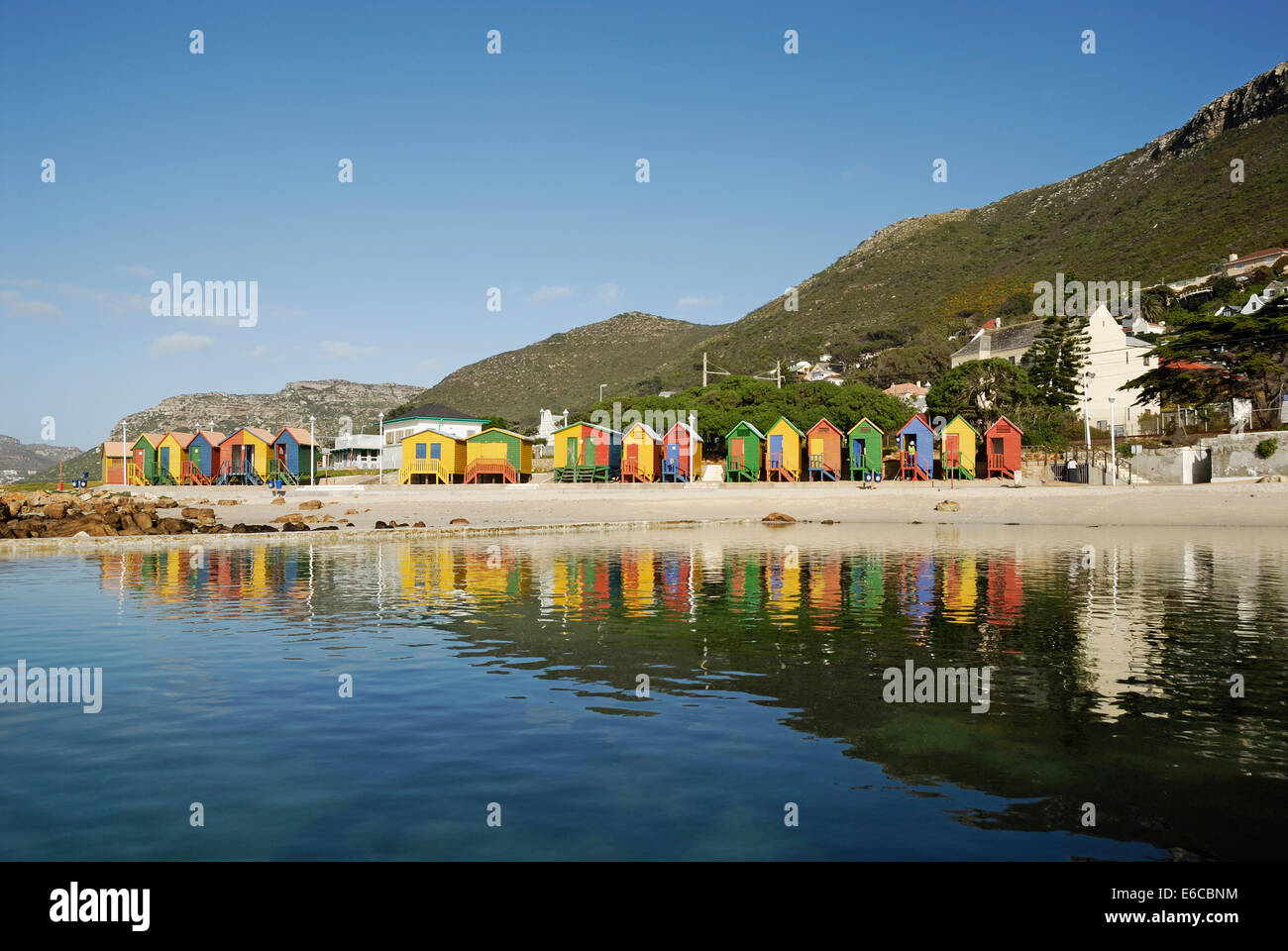 Multicoloured beach huts on St James beach, South Western Cape, South Africa - Stock Image