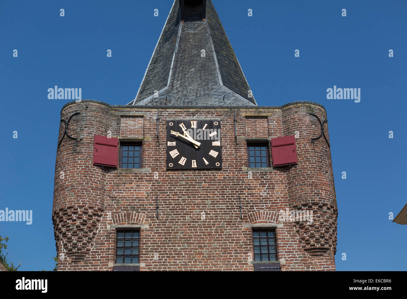Tower of the  city gate of Elburg, an old  Hanseatic city in the province Gelderland in the Netherlands - Stock Image