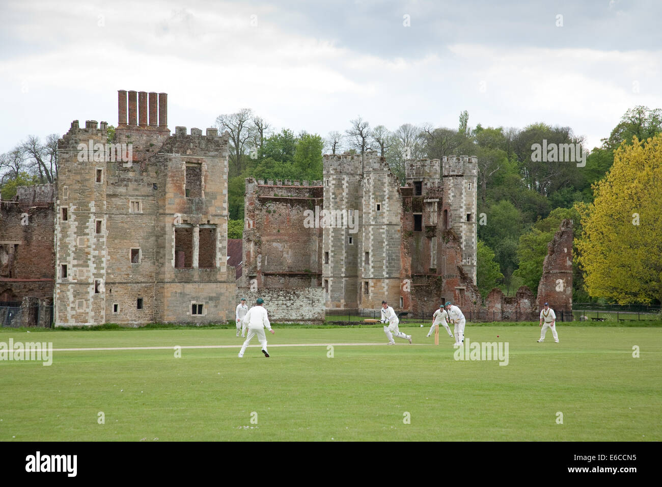 A cricket game being played at Cowdray Park in Sussex England UK, with a backdrop of Cowdray House, a ruined Tudor - Stock Image
