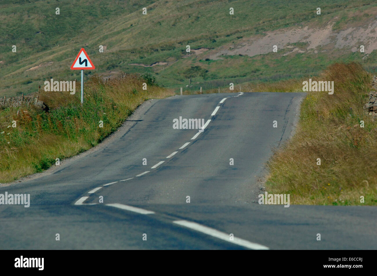 A Road On The Staffordshire Moorlands. - Stock Image