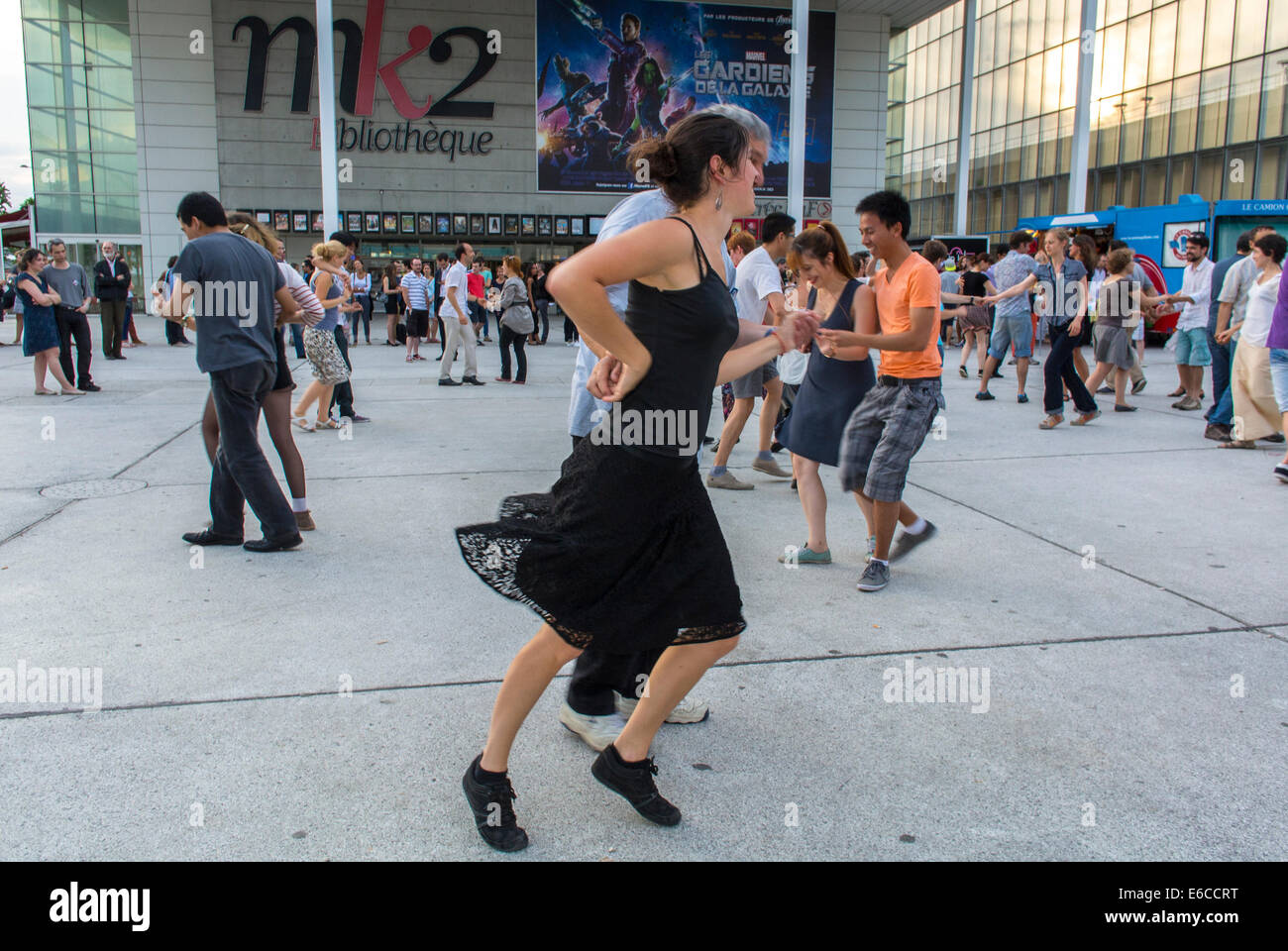 Paris, France, French Couples enjoying Public Events, Swing, Rock n Roll Street Dancing, Bibliotheque Area, adult - Stock Image