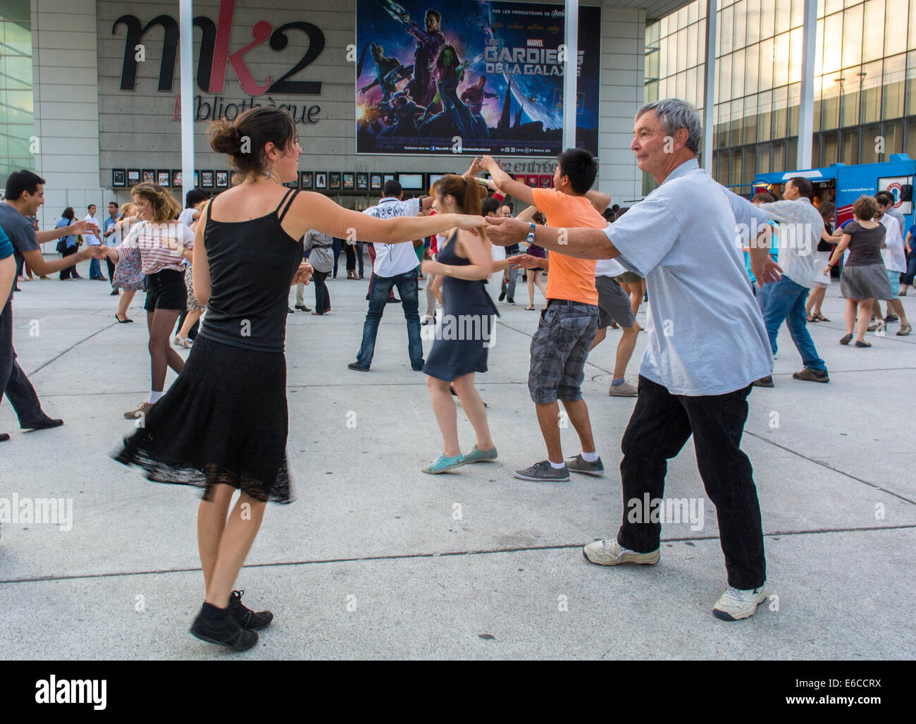 Paris, France, French Couples enjoying Public Events, 'Rock and Roll' Street Dancing, Bibliotheque Area, - Stock Image