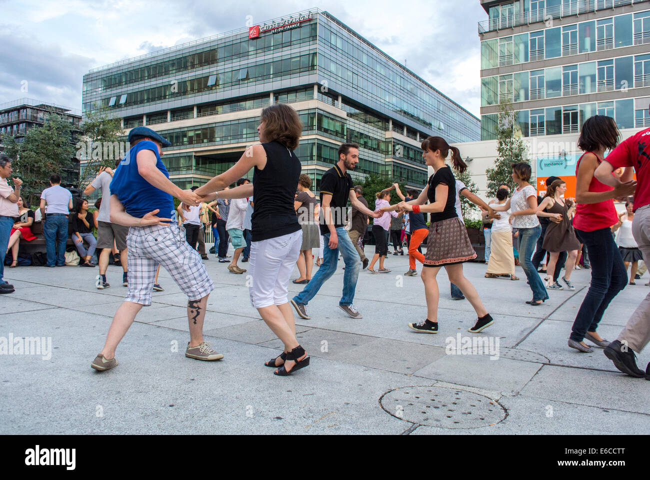 Paris, France, Crowd of Tourists enjoying Public Events, Street Swing Dancing, Bibliotheque Area, adult extracurricular - Stock Image