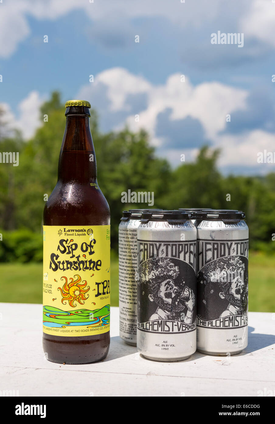 VERMONT, USA - Lawson's Sip of Sunshine, and Heady Topper, craft beers made in Vermont. - Stock Image