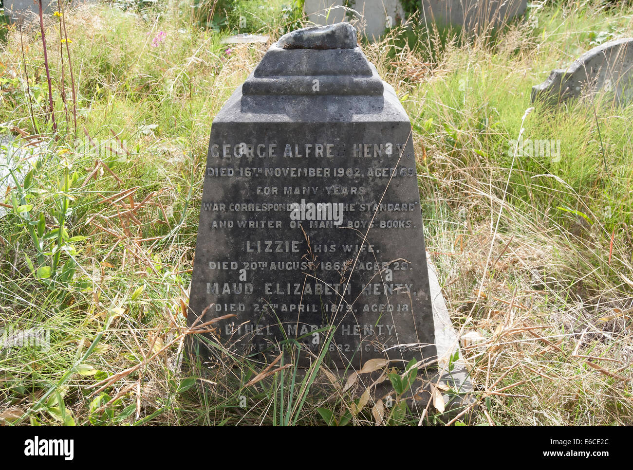 grave of writer george henty, in brompton cemetery, london, england - Stock Image