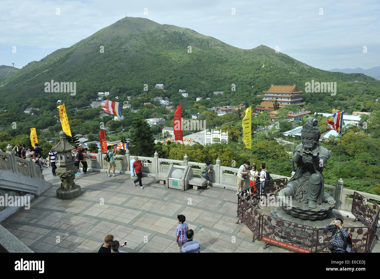 Two of the six Divas known as 'The offering of the six Divas'; bronze statues at the Tian Tan Buddha, Lantau - Stock Image