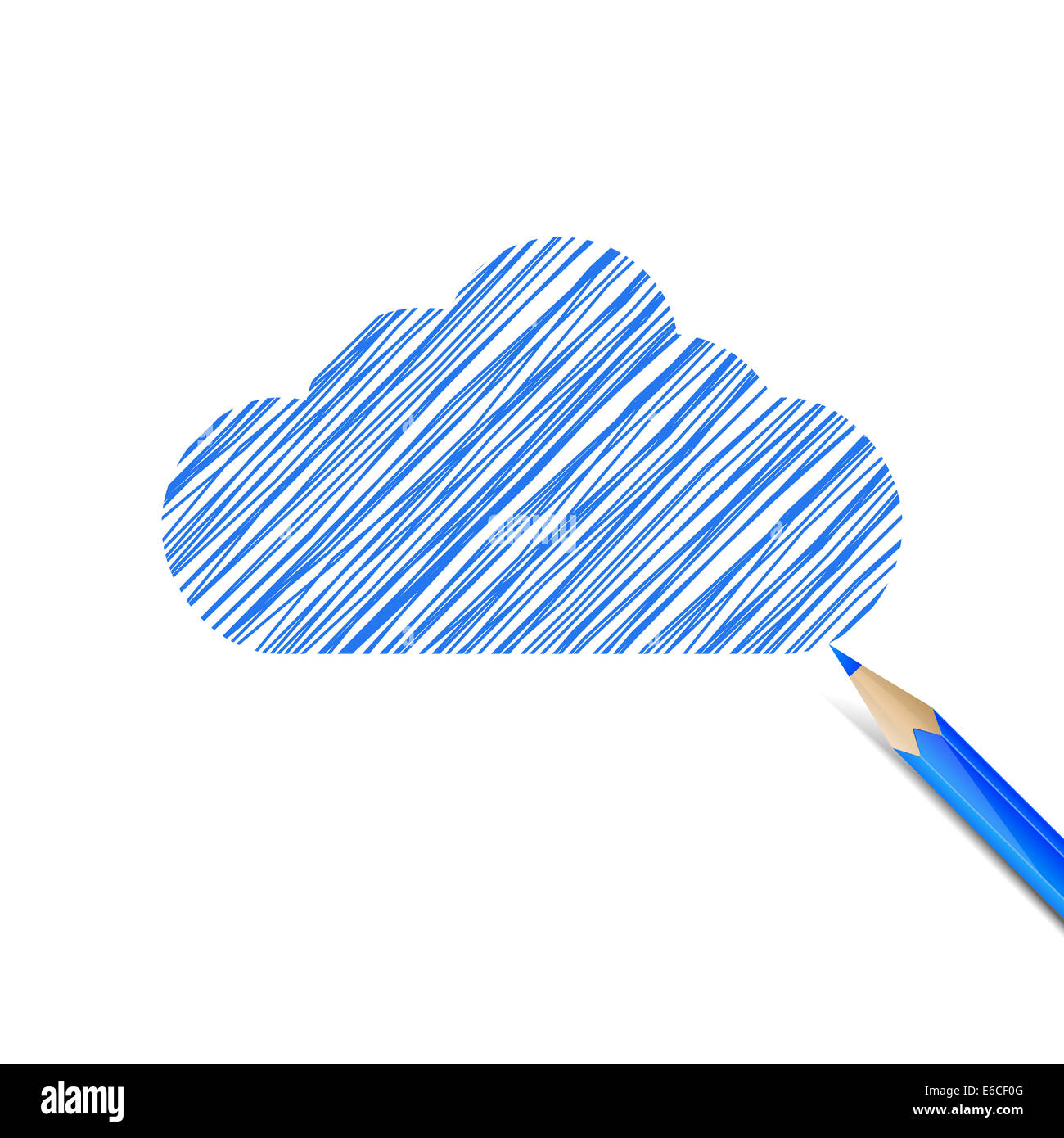 Blue cloud drawn with pencil - Stock Image