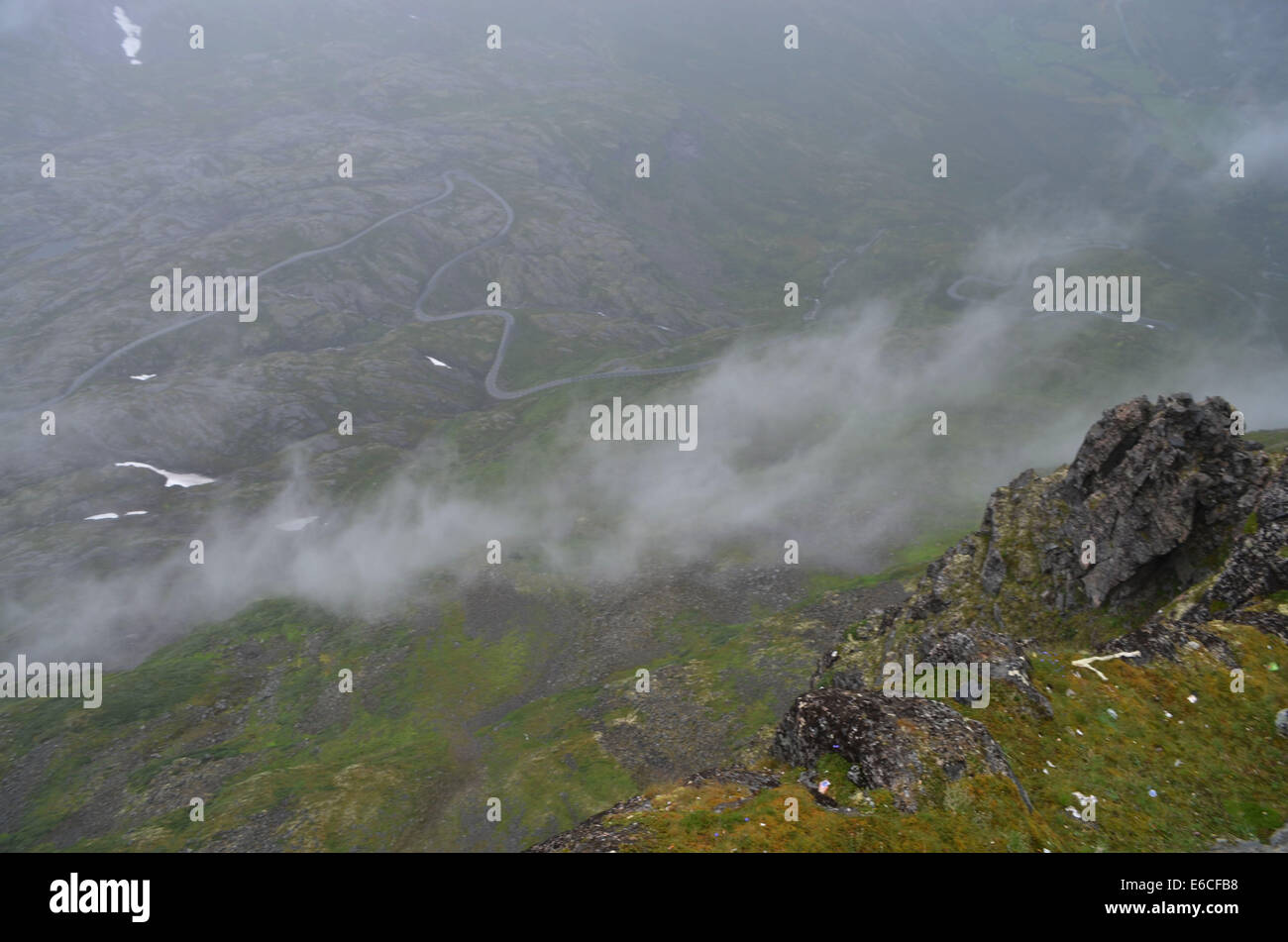 Daisnibba Pass, southern Norway in bad weather, the pass is 1500' high and is equally as beautiful in good weather - Stock Image