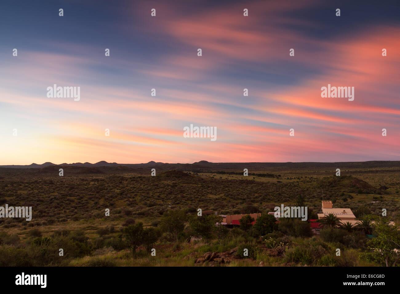 Namibian farmland at sunset, Windhoek, Namibia - Stock Image