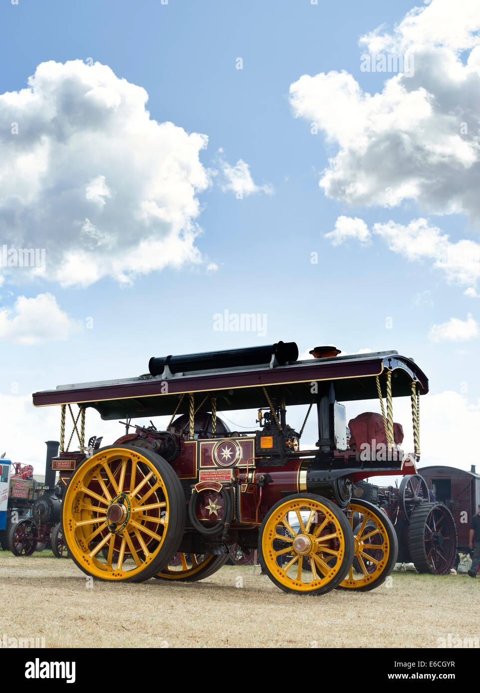 Showmans Traction Engine at a steam fair in England - Stock Image